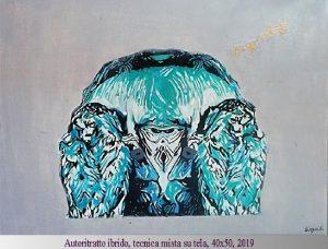 autoritratto ibrido, tecnica mista su tela,40x50,2019